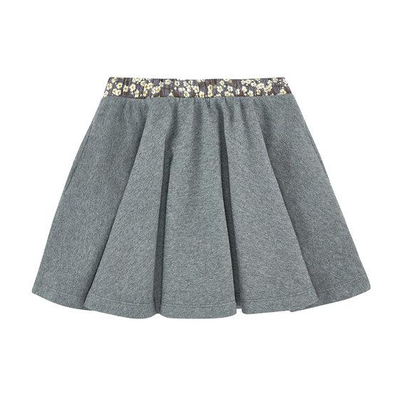 Floral on Grey Flannel Skirt