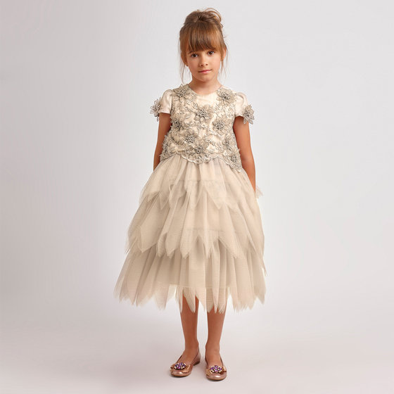 Flowers Embellished Tulle Dress
