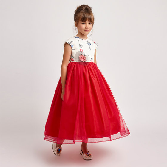 Ballerina Print & Red Tulle Empire Dress