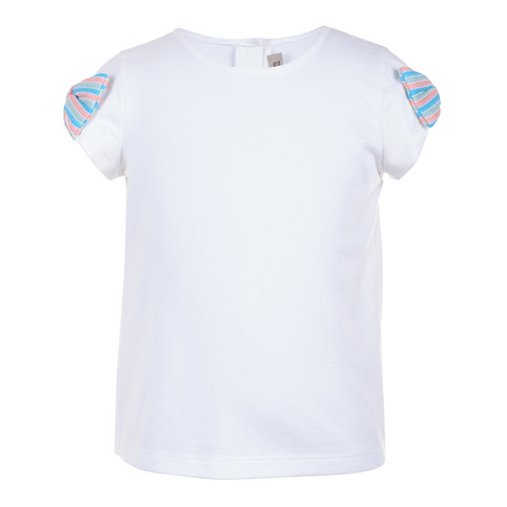 Jersey tee with multi coloured stripes bows