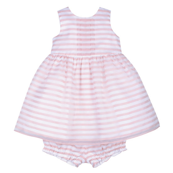 Baby Girl Stripe Bodice Dress with Bloomer