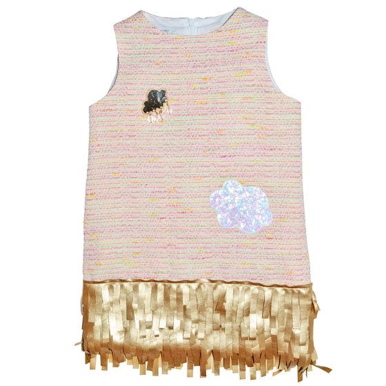 Pink Tweed Fringed Hem Dress