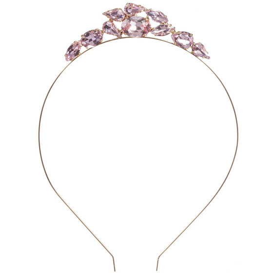 Gold Metal Hairband and Pink Crystal