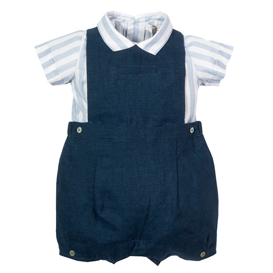 Baby Boys Navy Linen Outfit