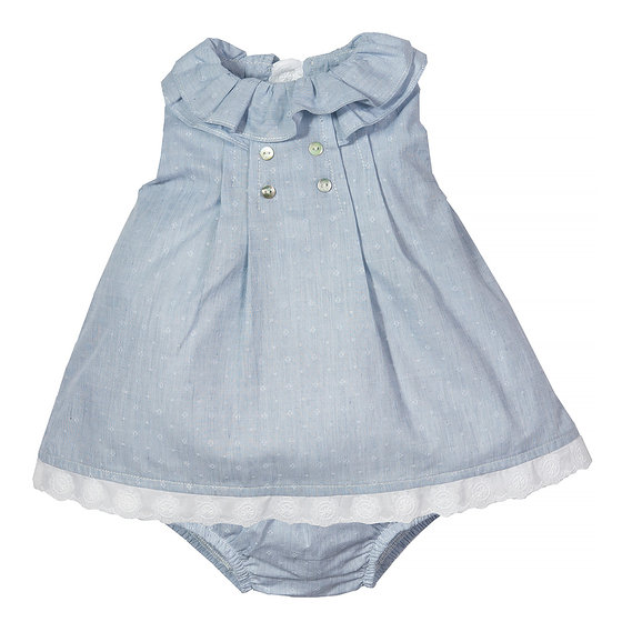 Blue Printed Cotton Dress with Bloomers