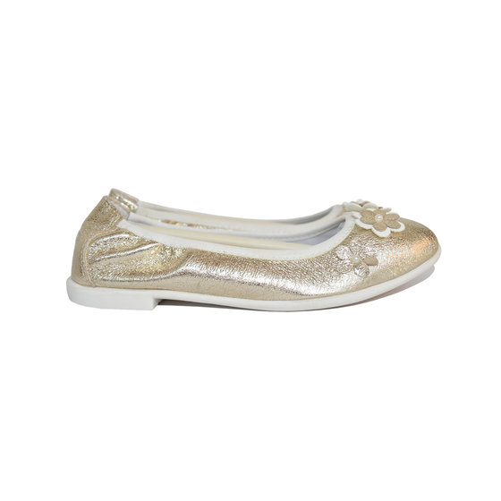Gold metallic ballerina flat