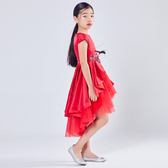 New Season: Girl Royal Red Satin Butterfly Dress