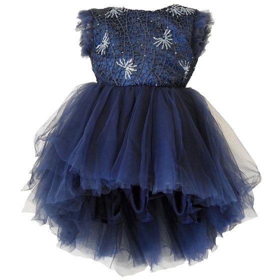 Girls Navy Blue Sequin Dress