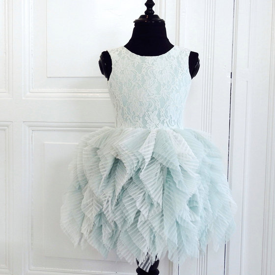 Light Green Fanciful Lace and Tulle Dress