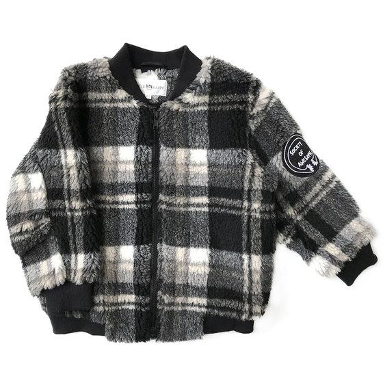 Checked Teddy Bomber Jacket