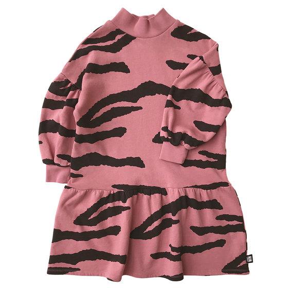 Tiger High Collar LS Dress