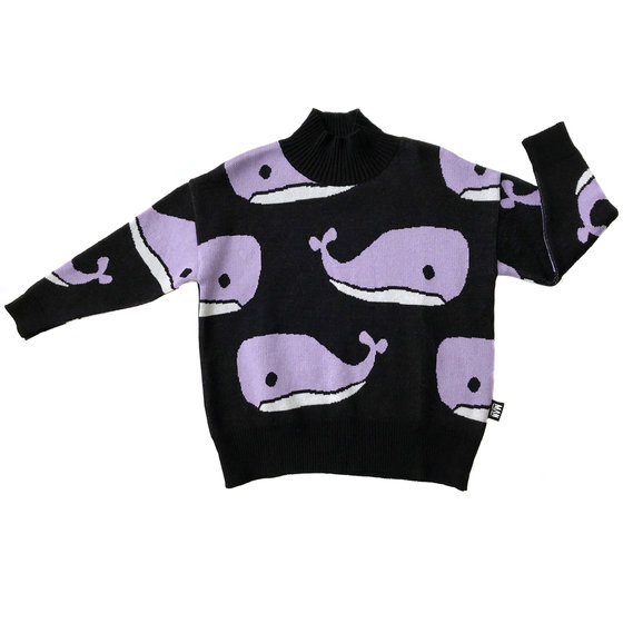 Whale High Collar Knit Sweater