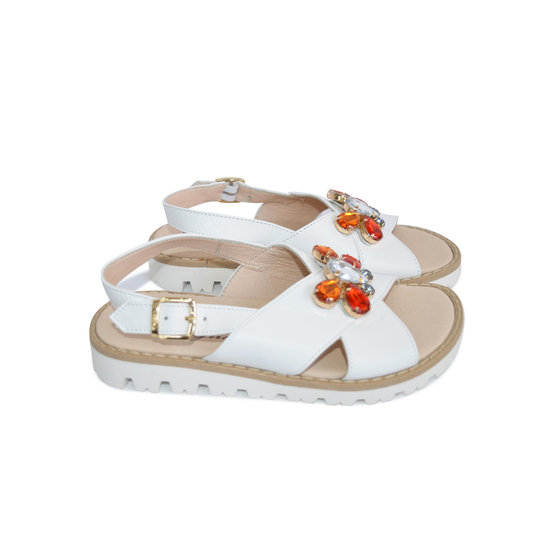 Girls White Leather Sandals With Multicolored Gems