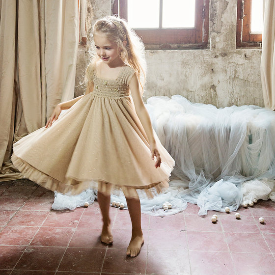 "Tulle Overlay Sleeveless ""Celestine"" Dress"