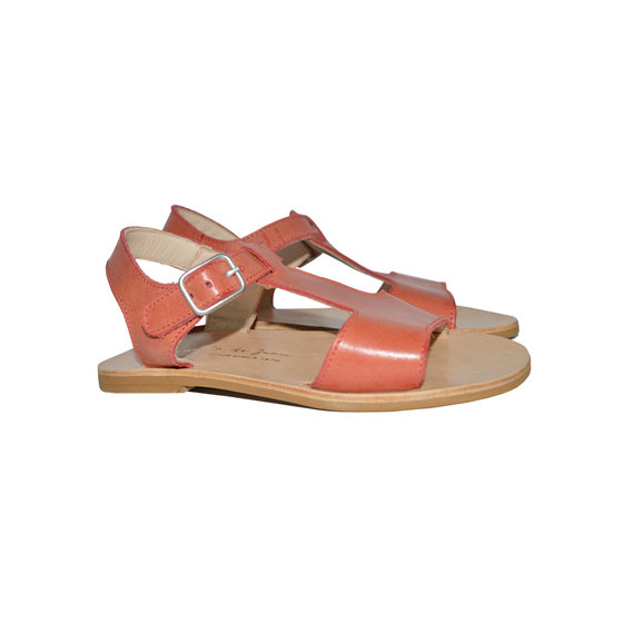 Girls Orange Leather Sandals