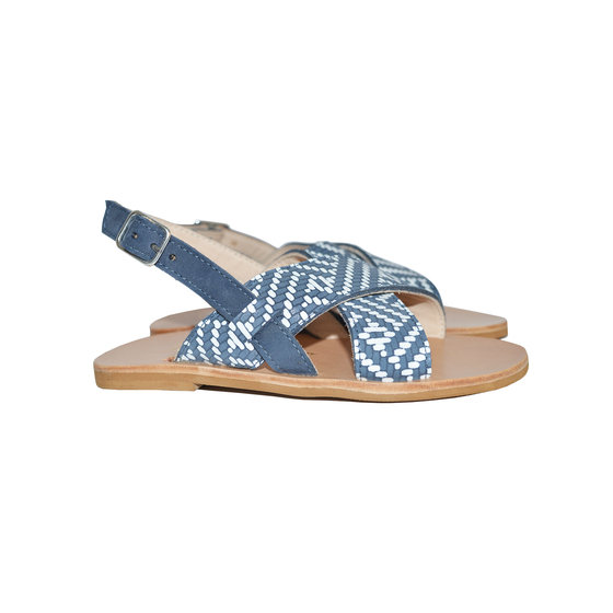 Navy Leather Cross Strapped Sandals