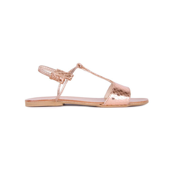 Girls Salmon Gold Leather Sandals