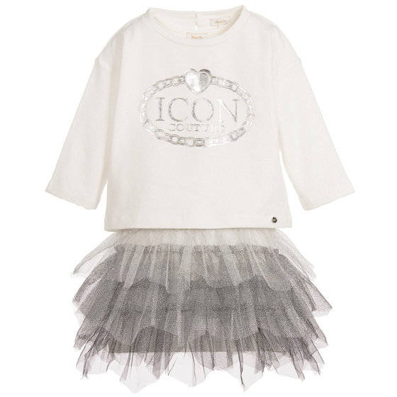 Little Girls: 2 Pieces Ivory and Silver Tulle Dress