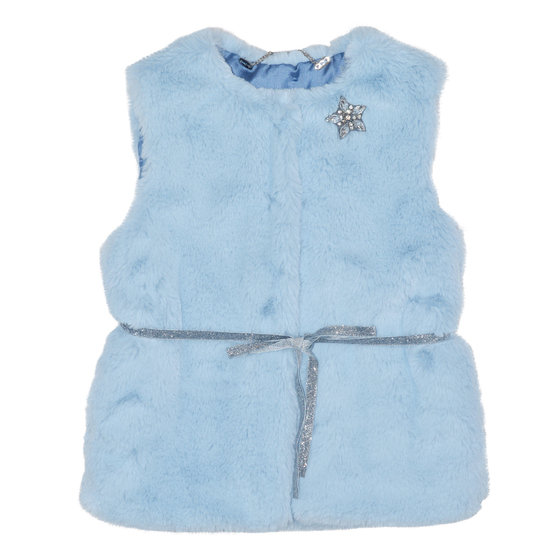 Little Girls Blue Faux Fur Vest