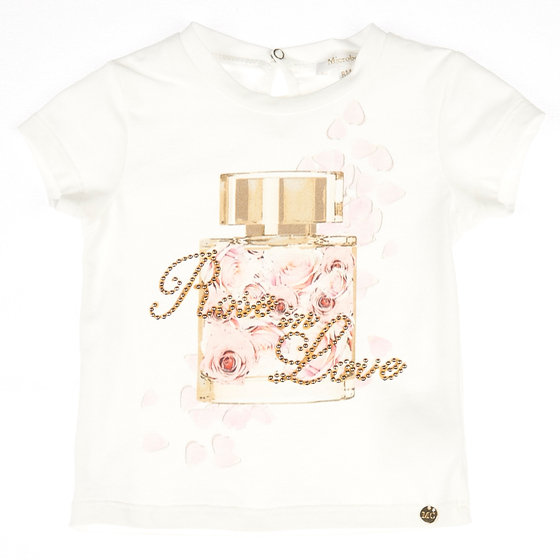 Fancy perfume bottle print T-shirt with rhinestones