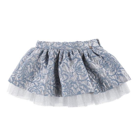 Little Girls Grey and Blue Brocade Skirt
