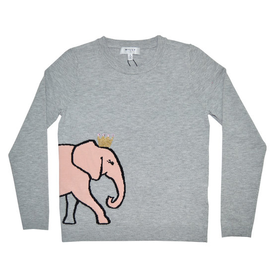Elephant Intarsia Pullover