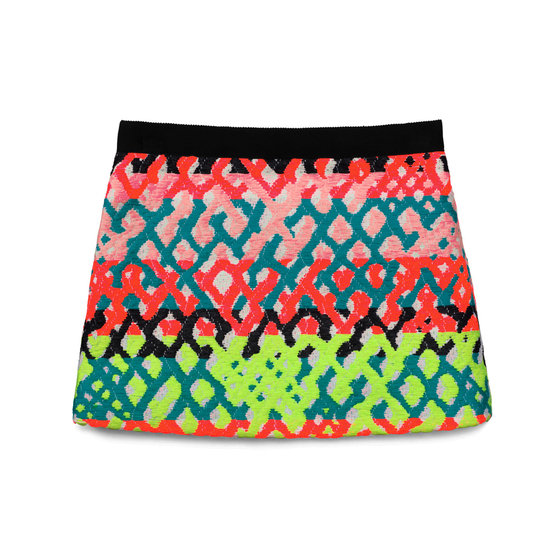 Neon jacquard mini skirt