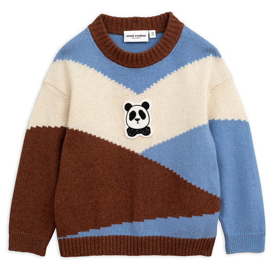 Brown Panda Knitted Wool Pullover