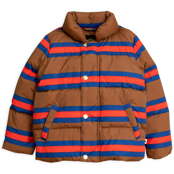 Brown Stripe Puffer Jacket