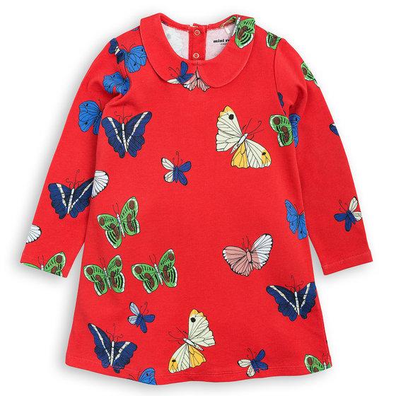 Butterflies Pattern Collar Dress