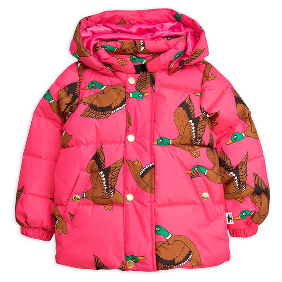 Cerise Pink Ducks Puffer Jacket