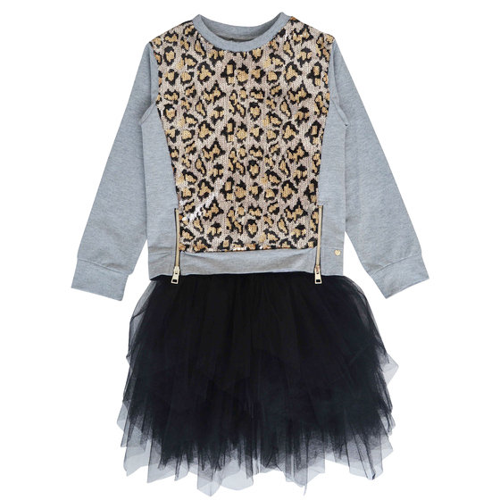 Girl 2 Pieces: Leopard Sequin Top and Black Tulle Dress