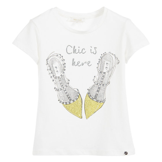 Fancy shoes print T-shirt with rhinestones
