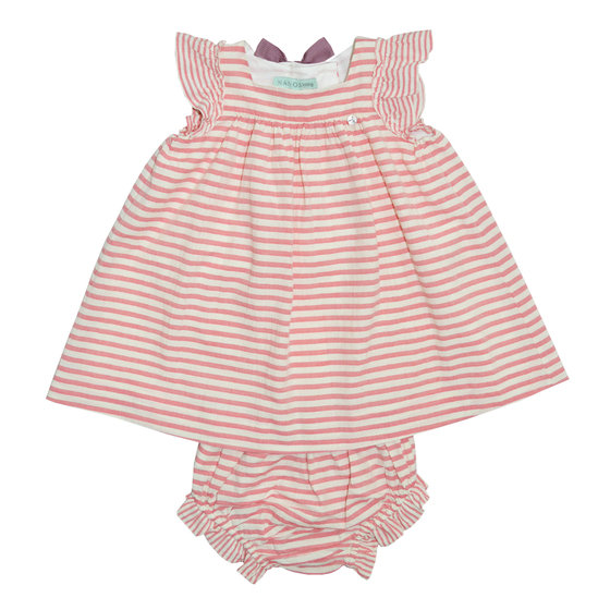 Pink Striped A-line Dress with Bloomers