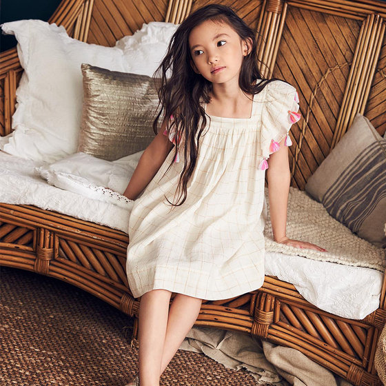 Chloe Dress in Lurex Check