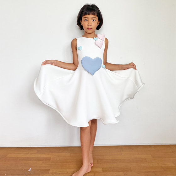 Daughter of the Goddess: Venus Dress in White & Multi-color Hearts