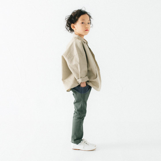 Khaki Tapered-Leg Pants