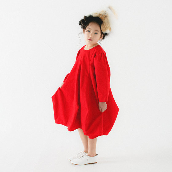 Cotton Blend Red Dress