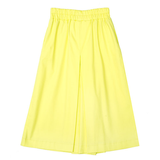 Cotton Wide Trousers Flax Yellow