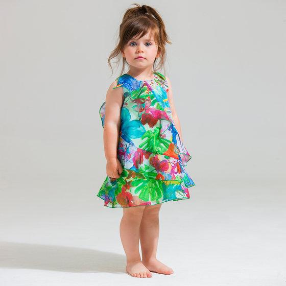 Coral Green Printed Ruffled Dress