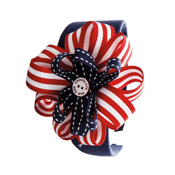 Navy Headband with Stripe Ornament