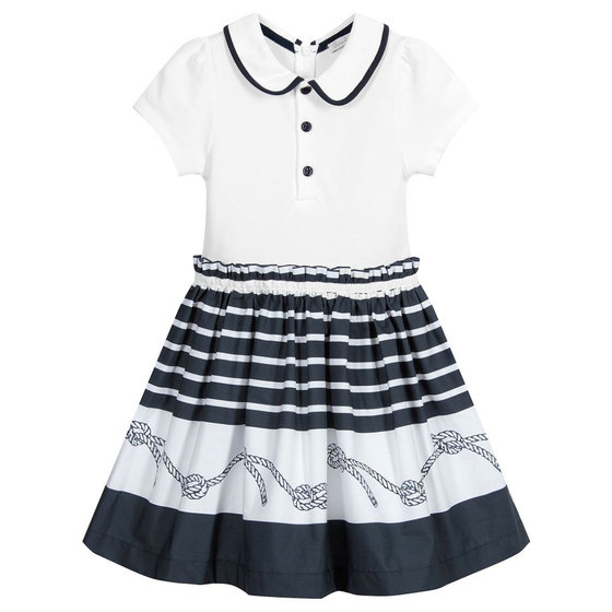 White & Navy Polo Dress