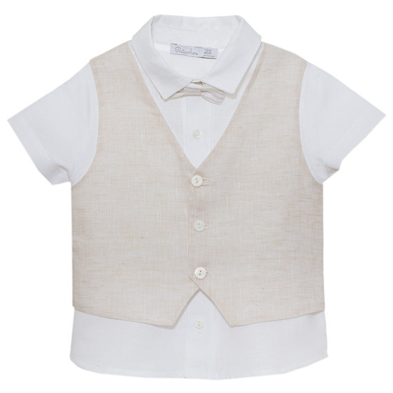 White Shirt with Beige Vest
