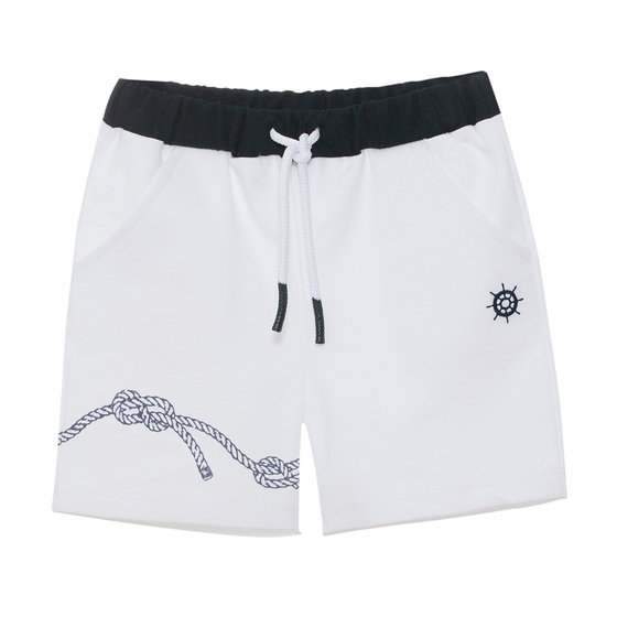 White & Navy Jersey Shorts