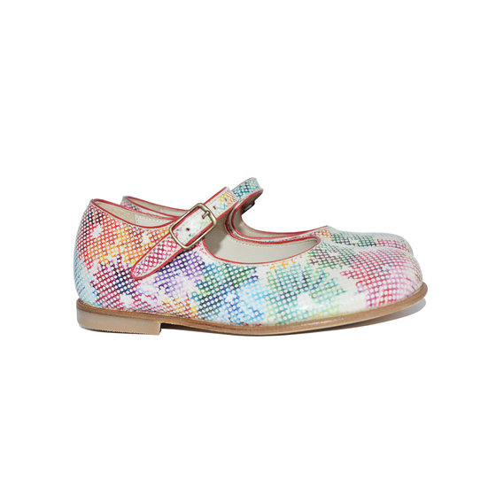 Flower print mary jane shoes