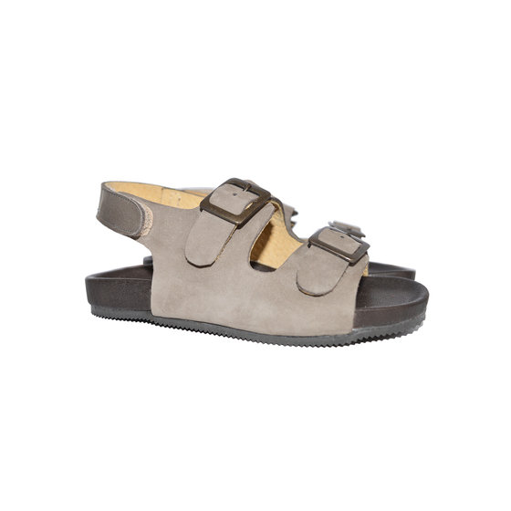 Suede double-buckled sandals with velcro on back