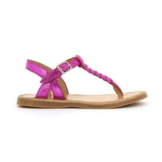 Fuchsia shiny leather sandals Plagette Artic