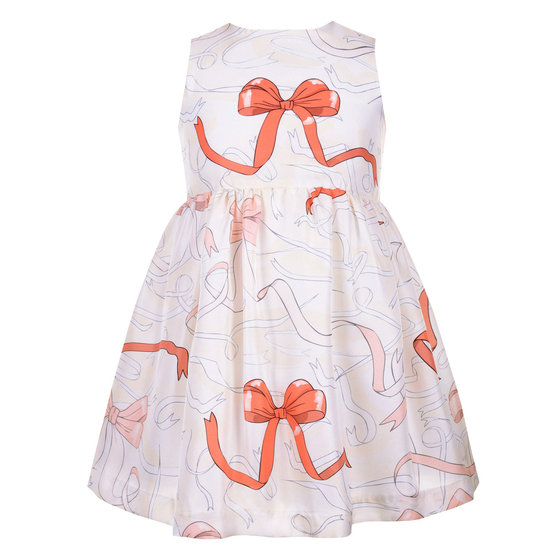 Ribbon Print Silk Dress