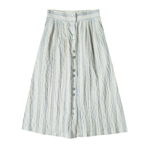 Button Down Long Skirt Stripe