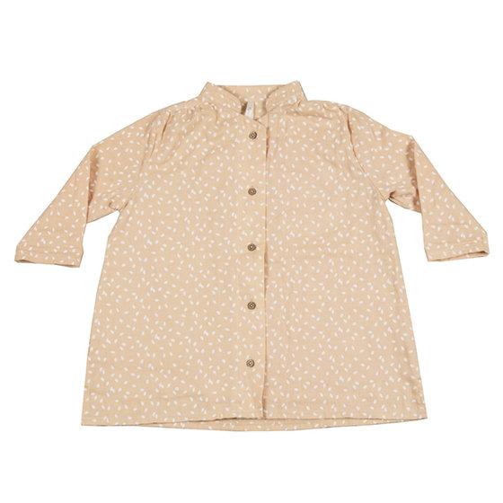 Scatter Button Mandarin Collar Shirt Dress
